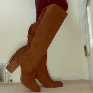 Tall faux suede fringe boots in brown